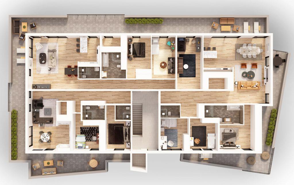 3D Immobilien Visualisierung Grundriss