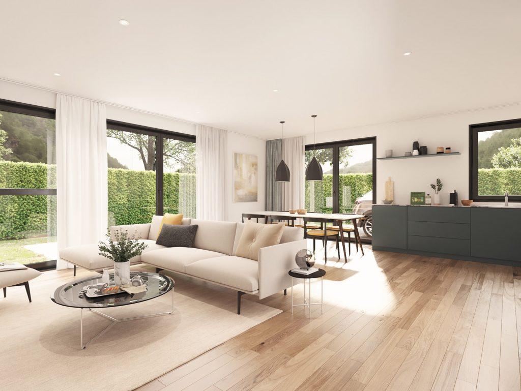 3D Immobilien Visualisierung Wohnzimmer und Küche