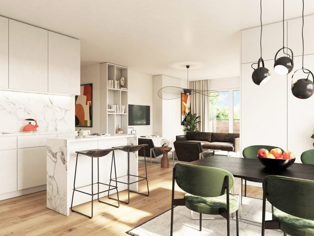 3D Immobilien Visualisierung Wohnzimmer, Küche und Esstisch